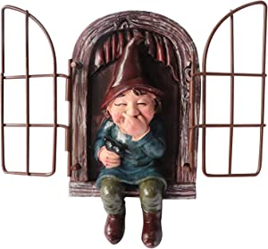 Kunjocy Garden Small Gnome Statue, Elf Out The Door Tree Hugger, Outdoor Gnome Decorations, Whimsical Tree Sculpture Garden Decoration, 5.7inch Height (Women)