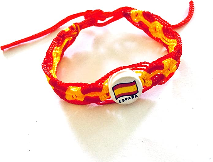 Pulsera tejida, con diseño de la bandera española: Amazon.es: Joyería
