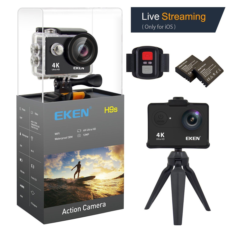 EKEN 4K Action Kamera wasserdichte Full HD Wifi Sport Kamera mit 4K   2.7K   1080P60   720P120fps Video 12MP Foto und 170 Weitwinkelobjektiv beinhaltet 10 Montagesätze fernbedienung 2 Batterien