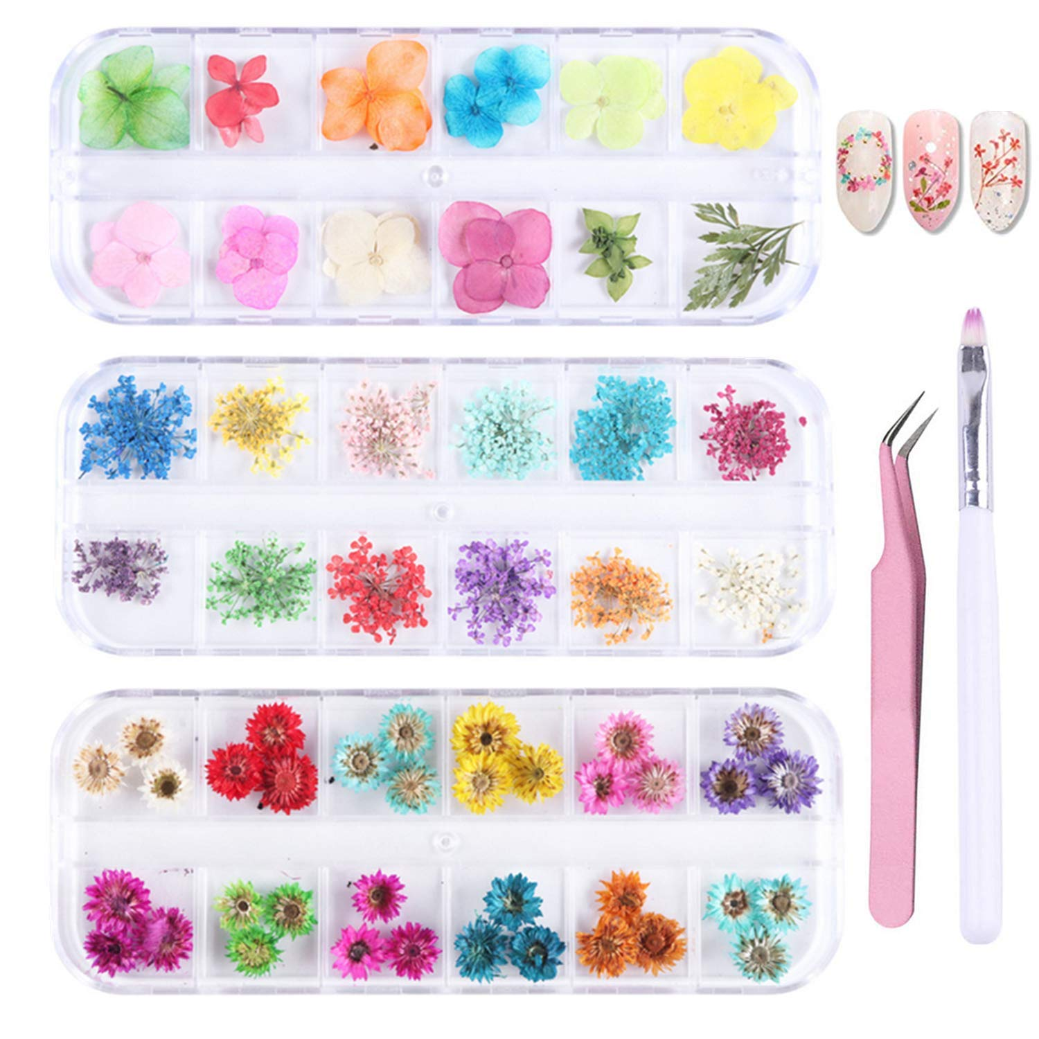 PHAETON 36 Colors Mini Nail Dried Flowers 3D Nail Art Sticker, Flower Beauty Nail Stickers for Manicure, Natural Real Dry Flower Kit with a Curved Tweezers and a Nail Brush 3 Boxes by PHAETON