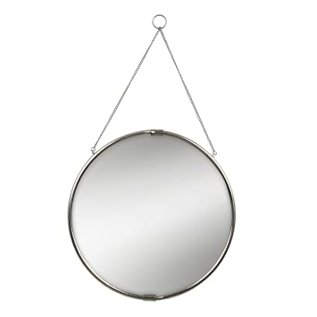 mirror on chain. brea decorative round hanging reclaimed metal wall mirror, 20.5 inch diameter, silver with mirror on chain h