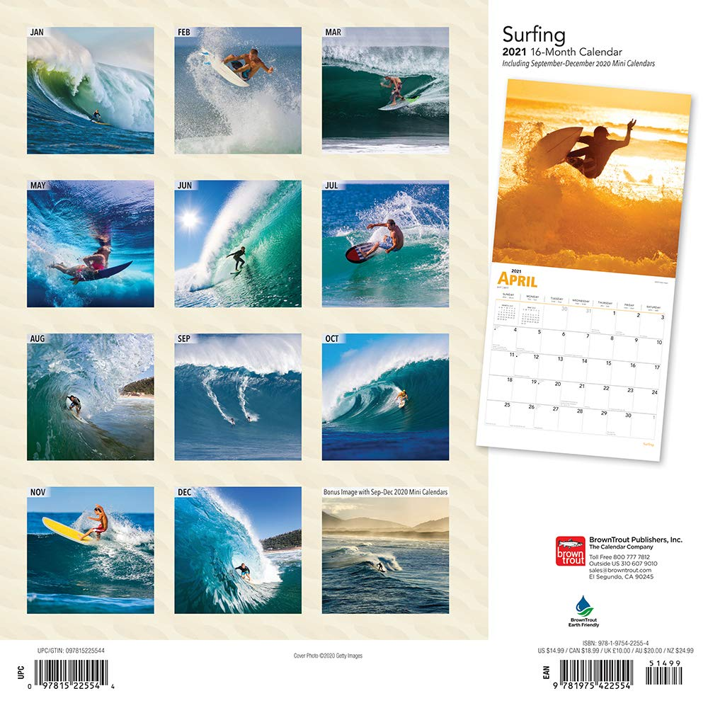 Surfing 2021 12 x 12 Inch Monthly Square Wall Calendar, Ocean Sea