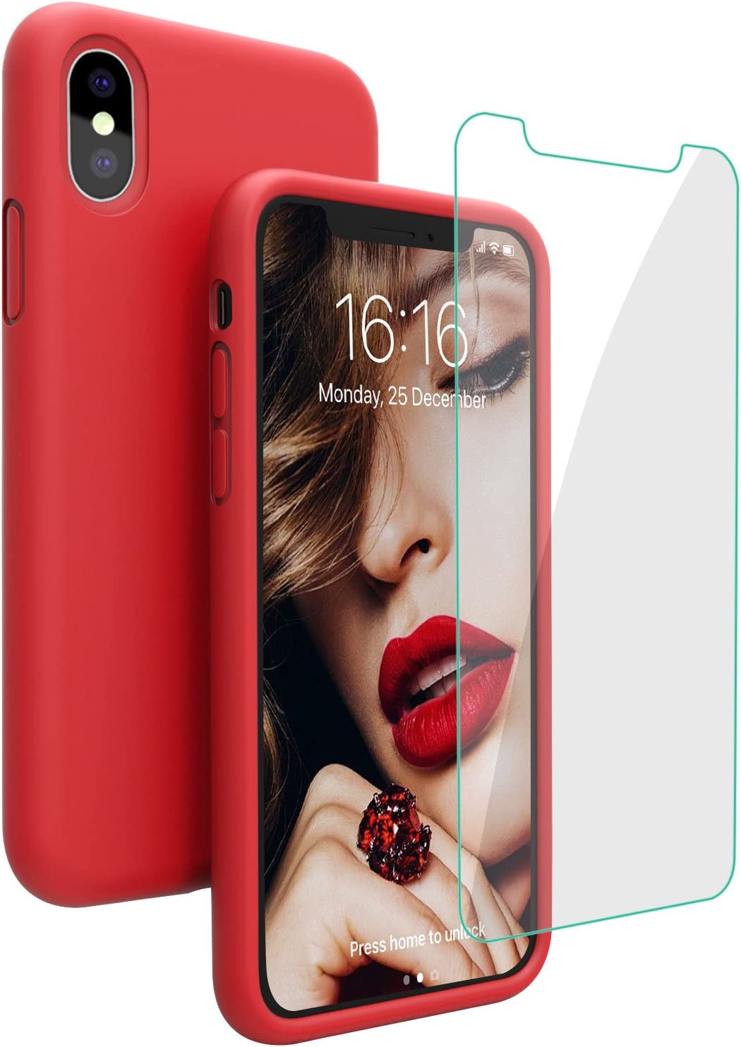 Case for iPhone X iPhone Xs Case, JASBON Liquid Silicone Case with Free Screen Protector Gel Rubber Shockproof Cover Full Protective Case for iPhone Xs/X-Red