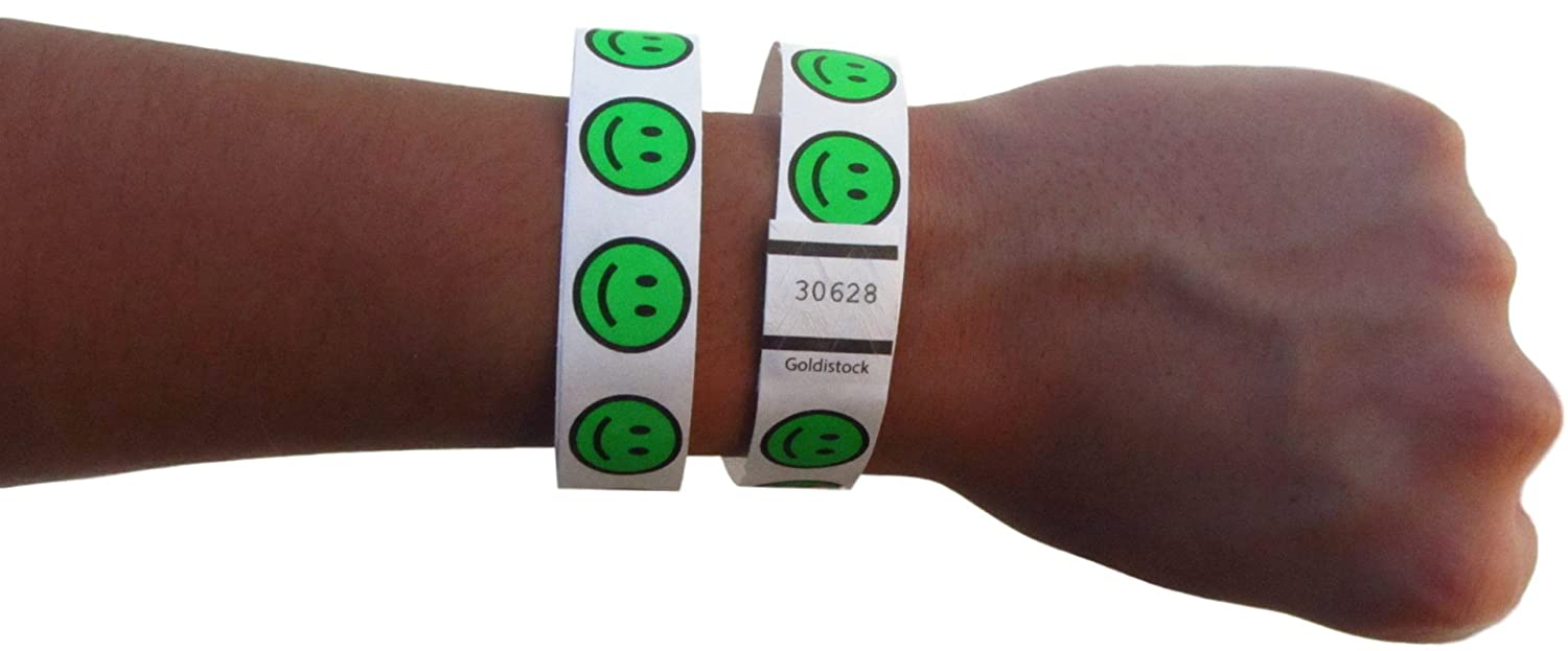 Neon Yellow 500 Count Goldistock 3//4 Tyvek Wristbands Happy Smiley Face Event Identification Bands Paper - Like Texture