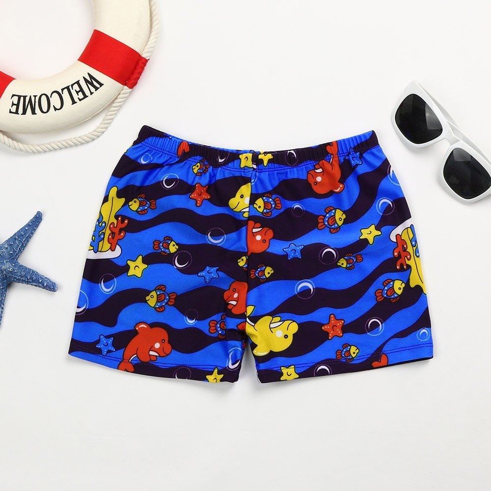 ❤️ Mealeaf ❤️ KidChildren Boys Cartoon Print Stretch Beach Swimsuit Swimwear Pants Shorts(24M-8T) (Blue, 4T) by ❤️ Mealeaf ❤️ _ Baby Swimwear (Image #2)