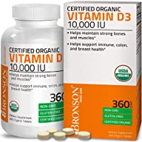 Bronson Vitamin D3 10,000 IU (1 Year Supply) for Immune Support, Healthy Muscle Function & Bone Health, High Potency Organic Non-GMO Vitamin D Supplement, 360 Tablets