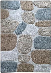 Chardin Home - 100% Pure Cotton Pebbles Bath Rug, Large, 27'' W x 45'' L, Bluish Gray-Beige – Easy Care Machine Wash