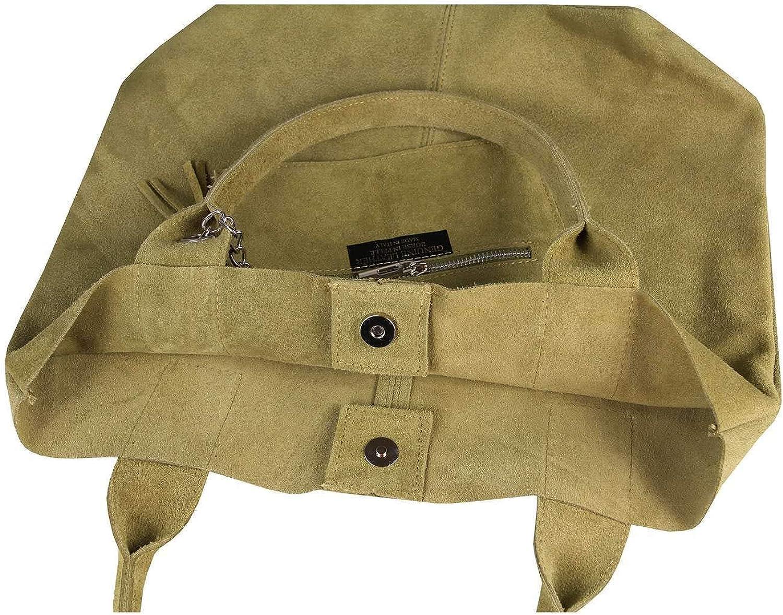Made IN Italy Damen XXL Leder Tasche Wildleder Shopper Schultertasche + Schmucktasche Olivgrün
