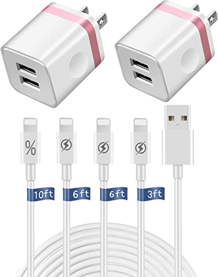 4 USB PORT WALL ADAPTER+3FT CORD POWER CHARGER SYNC BLACK FOR IPHONE IPOD IPAD