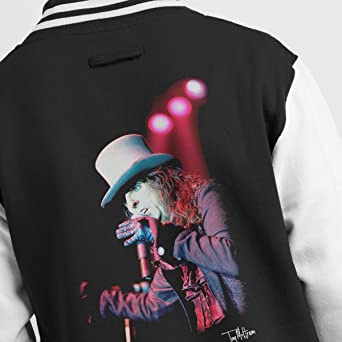 b808853173d Tony Mottram Official Photography - Alice Cooper Top Hat Performing Men s  Varsity Jacket  Amazon.co.uk  Clothing