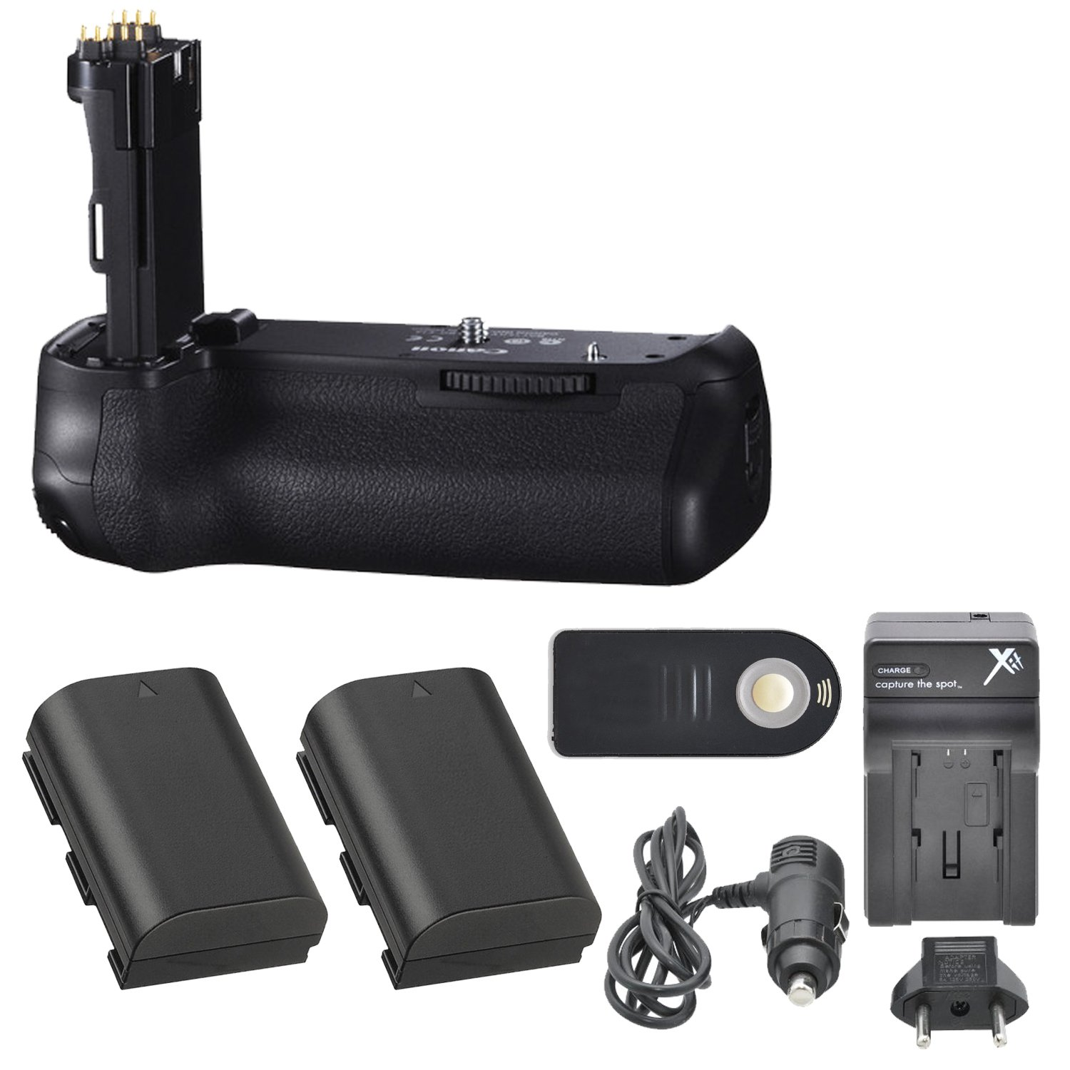 Canon BG-E14 Battery Grip with 2 Extra Batteries (LP-E6), Compact AC/DC Travel Charger, Wireless Remote for EOS 70D and 80D Digital SLR DSLR Cameras