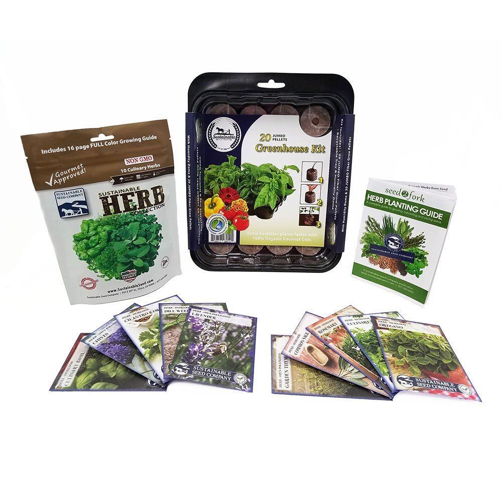 Culinary Herb Seed Collection with Greenhouse, 10 Variety, 100% NON GMO Heirloom Basil, Chives, Cilantro, Dill, Lavender, Oregano, Parsley, Rosemary, Sage and Thyme Herb Seeds