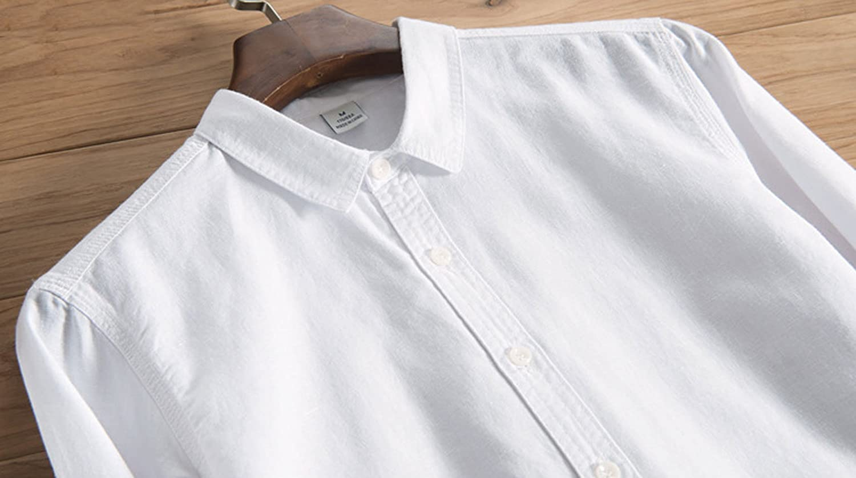 utcoco Mens All-Season Long Sleeve Button Front Linen Casual Shirts