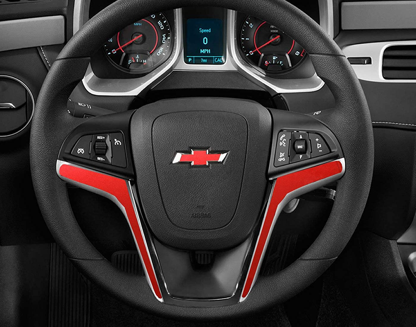 IPG for 2012-2015 Camaro Carbon Fiber Steering Wheel Accent Decal Cove Chevy Wrap Skin Do it Yourself kit 2 Units Set