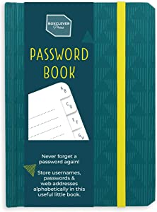 Boxclever Press Password Book with Alphabetical tabs. Never Forget a Password Again! Password Keeper for Internet login, Web Address & usernames. Password Journal for Home or Office - 6'' x 4.5''
