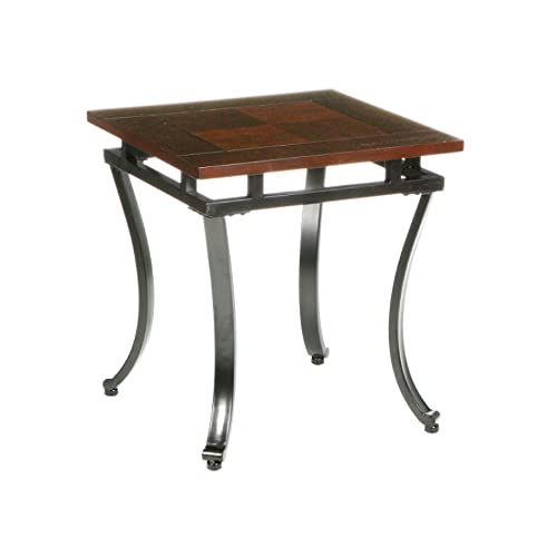 Modesto End Table – Wood Top w Metal Frame – Expresso Wooden Finish