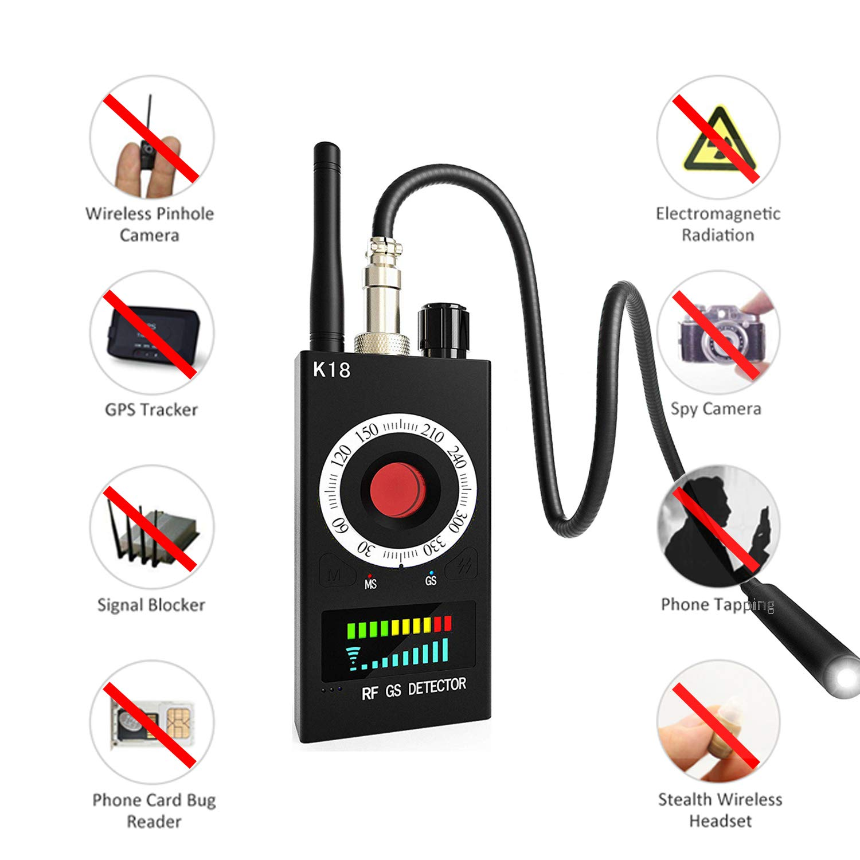 RF Detector & Camera Finder Anti-spy Hidden Camera Bug Sweeper GPS Audio Spy Scanner Radio Wireless Signal Electronic Tracker US Plug by SUCC