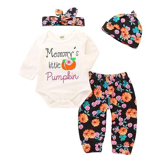 fb1d8fac565e YOUNGER TREE Mommy s Little Pumpkin Baby Halloween Romper + Floral Pants +  Cap + Headband 4Pcs