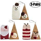 Coxeer 3 Pairs Christmas Socks Fuzzy Soft Novelty Crew Socks Floor Casual Socks
