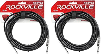 """6 Rockville RCGT20O 20/'  1//4/"""" TS to 1//4/'/' TS Guitar//Instrument Cable"""