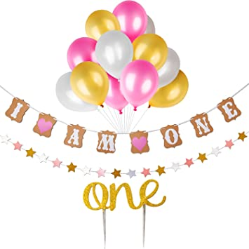 Baby First Birthday Cake Topper Decoration QuotI Am Onequot 1st Banner