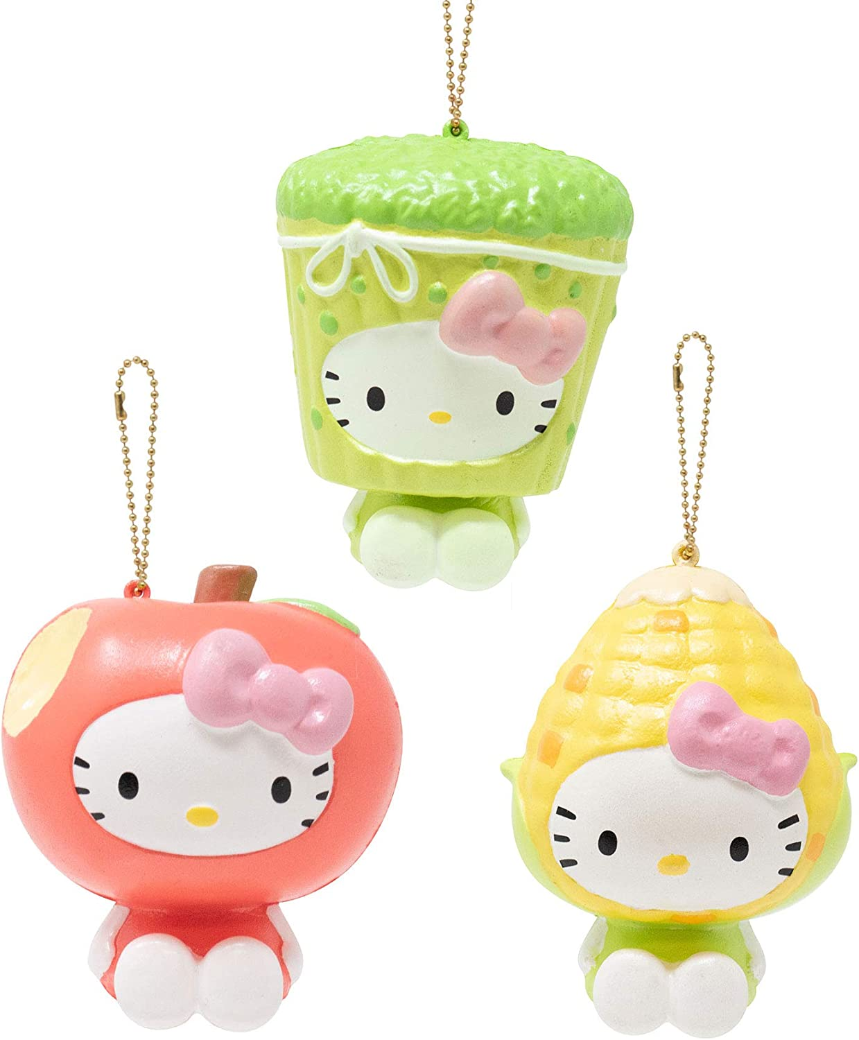 Sanrio Hello Kitty Fruit and Veggie Slow Rising Cute Squishy Toy Keychain (Apple, Corn, Asparagus, 3 Piece Set) Birthday Gifts, Party Favors, Stress Balls, Prop Decoration for Kids, Boys, Girls