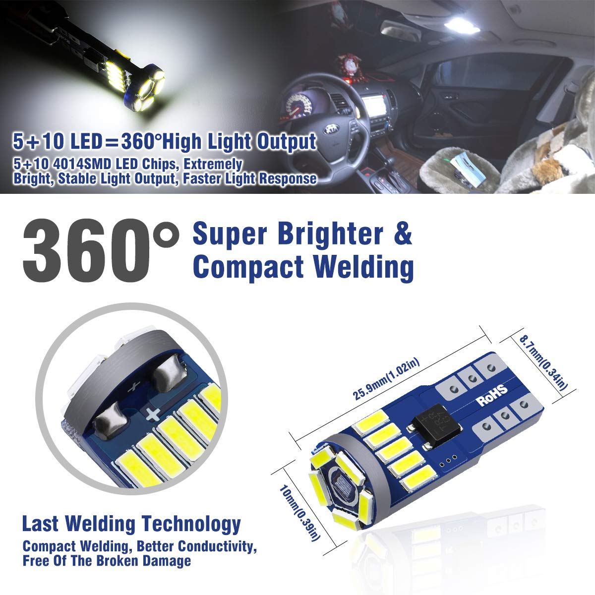 Audew W5W//T10 LED CANBUS Auto Targa Lampade 15 x 4014 SMD LED 12V 6712K Cuneo Tipo Lampadine Per Luce di Indicatore Laterale 10Pcs
