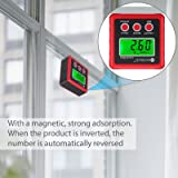 Neoteck Digital Angle Finder, Backlight LCD Digital Angle Gauge Protractor Inclinometer Bevel Box, Magnetic Base, Data Hold, IP54 Dust and Water Resistant- Red