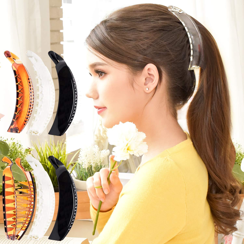 Plastik Einfarbig Banane Haarspangen Haarklammer Kamm Pferdeschwanz Halter #v he