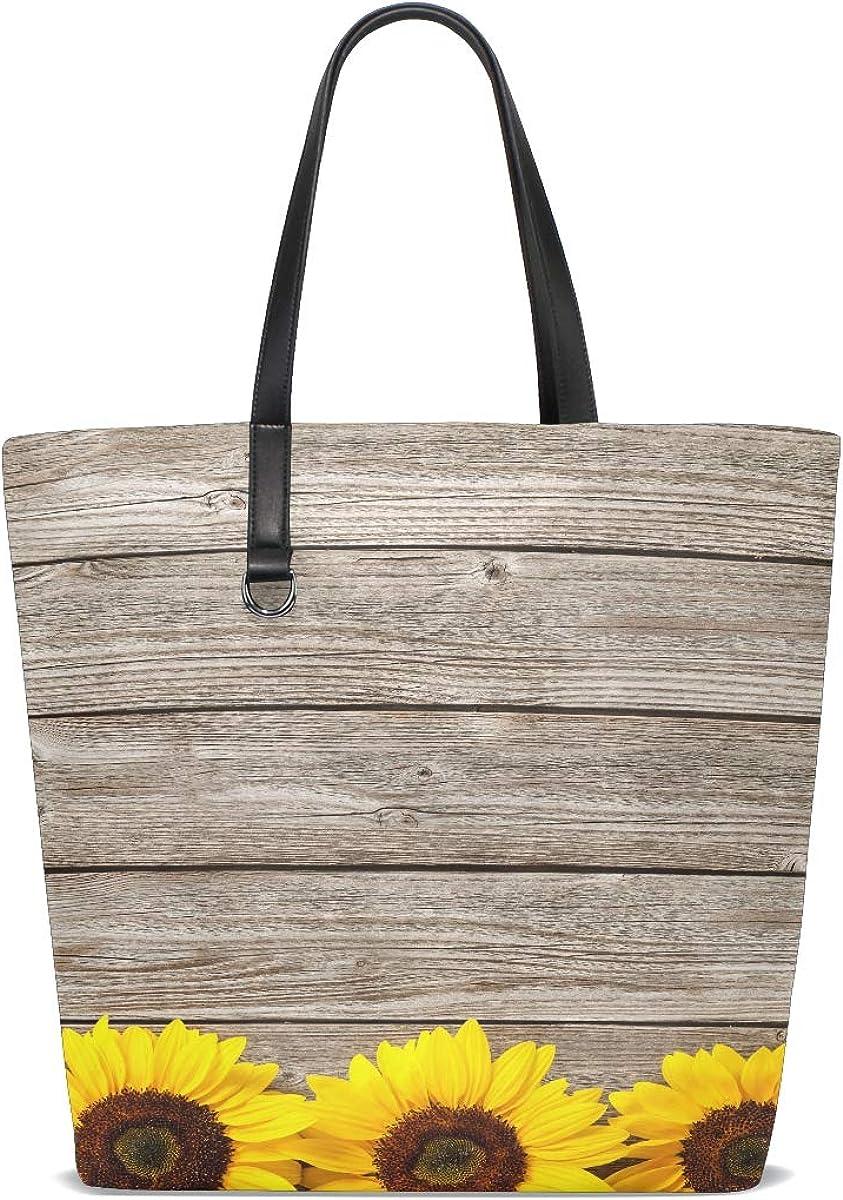 Women Autumn With Sunflowers On Wooden Board Handle Satchel Handbags Shoulder Bag Tote Purse Messenger Bags