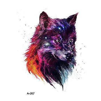 5a360d2f8e8e7 Amazon.com : WYUEN 5 Sheets Colorful Wolf Head Women Body Art Tattoo  Sticker For Men Fake Waterproof Temporary Tattoo New Designs 9.8X6cm  (FA-057) : Beauty