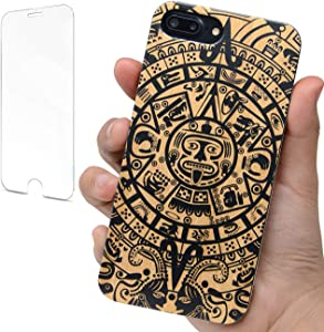"""iProductsUS Totem Phone Case Black Compatible with iPhone SE (2020), iPhone 8, 7, 6/6S and Screen Protector, Bamboo Wood Cases Engraved Mayan Calendar,Built-in Metal Plate,TPU Protective Cover (4.7"""")"""