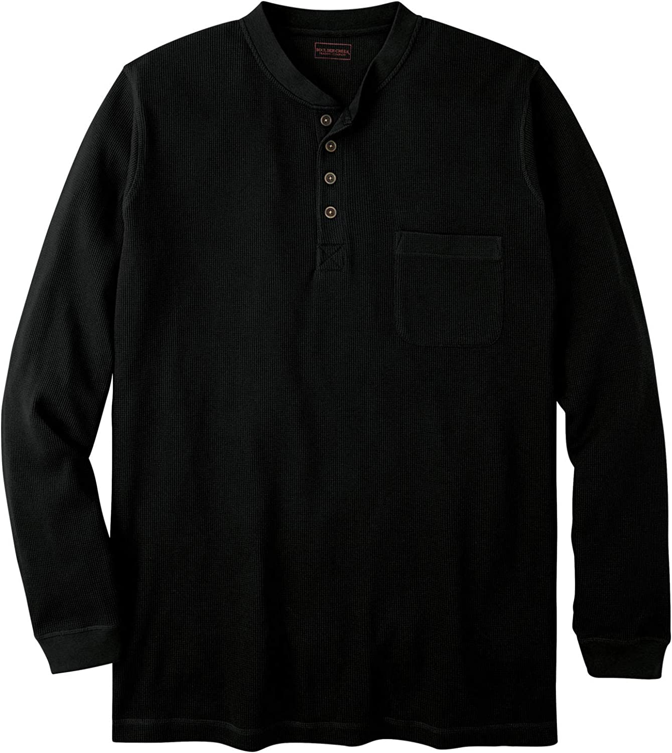 Boulder Creek Mens Big /& Tall Thermal Pocket Longer-Length Henley