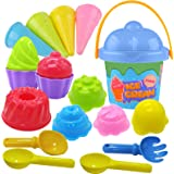Tcvents Beach Toys Ice Cream Mold Set Sand Toys 18 Pieces for Kids 3-10 with Large Beach Toy Bucket Pail for Kids and Toddler