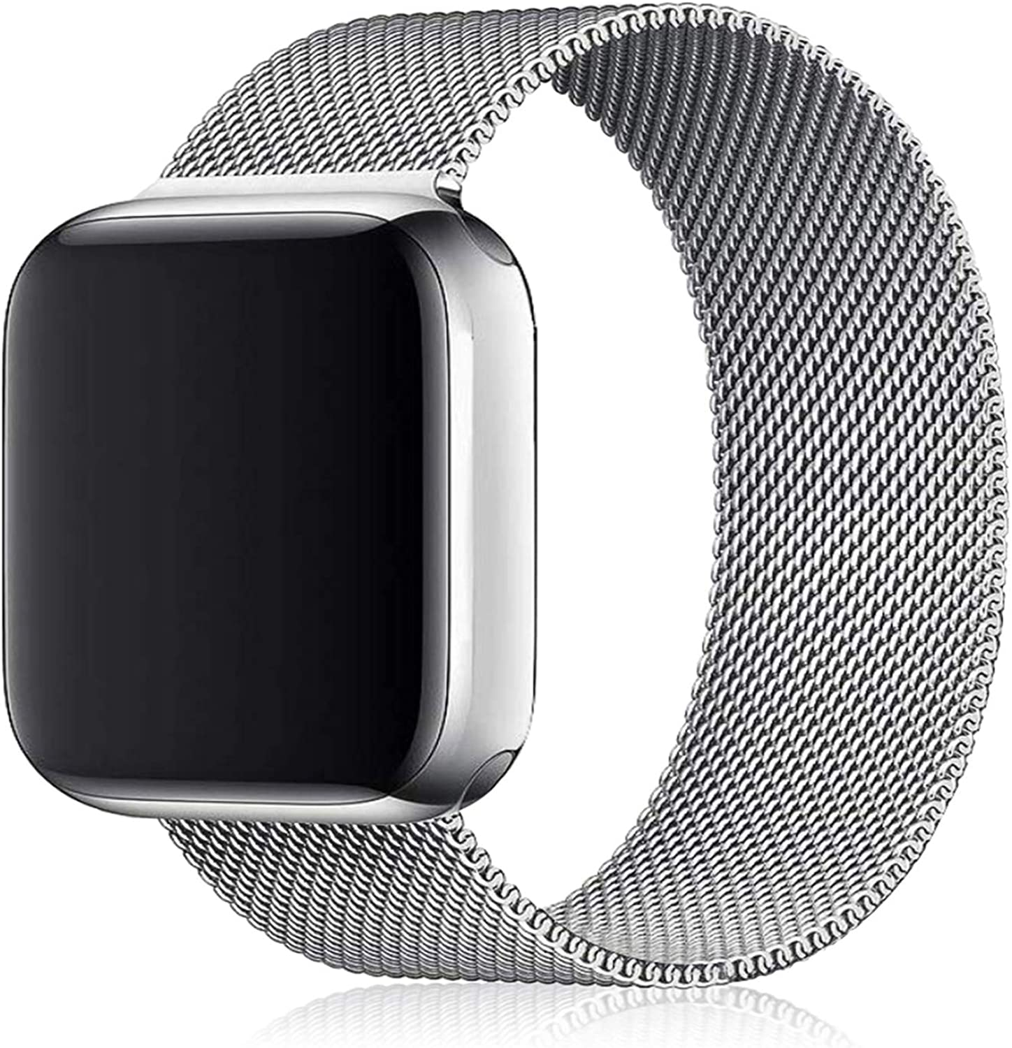 Maoyea Bands Compatible with Apple Watch 38mm 40mm 42mm 44mm with Ultra-Thin Clear TPU Film, Stainless Loop Wristband Adjustable Straps for iWatch Series 6/SE/5/4/3/2/1