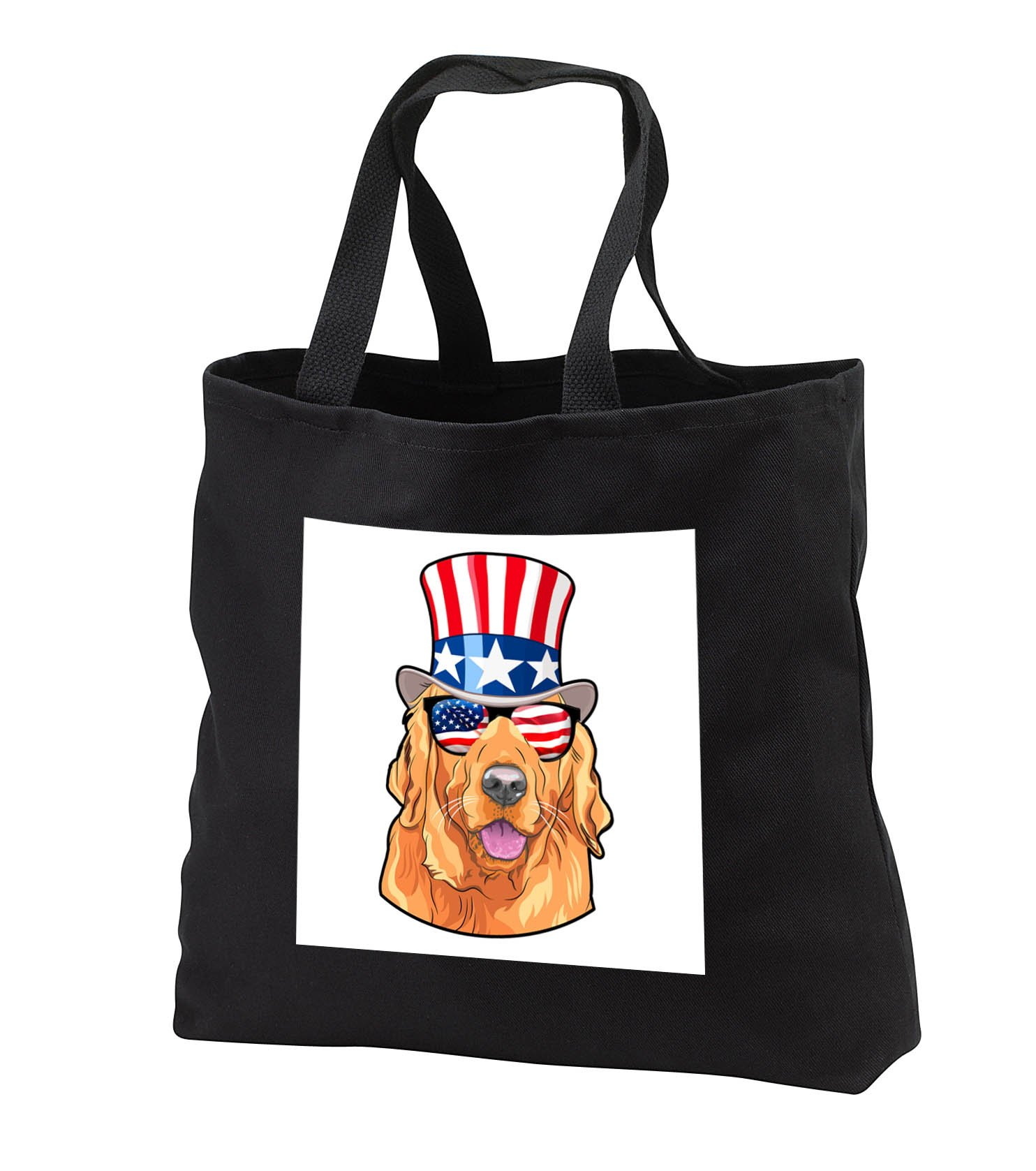Patriotic American Dogs - Golden Retriever Dog With American Flag Sunglasses and Top hat - Tote Bags - Black Tote Bag JUMBO 20w x 15h x 5d (tb_282714_3)