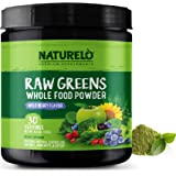 NATURELO Raw Greens Superfood Powder - Supplement to Boost Energy, Detox, Enhance Health - Organic Spirulina & Wheat Grass -