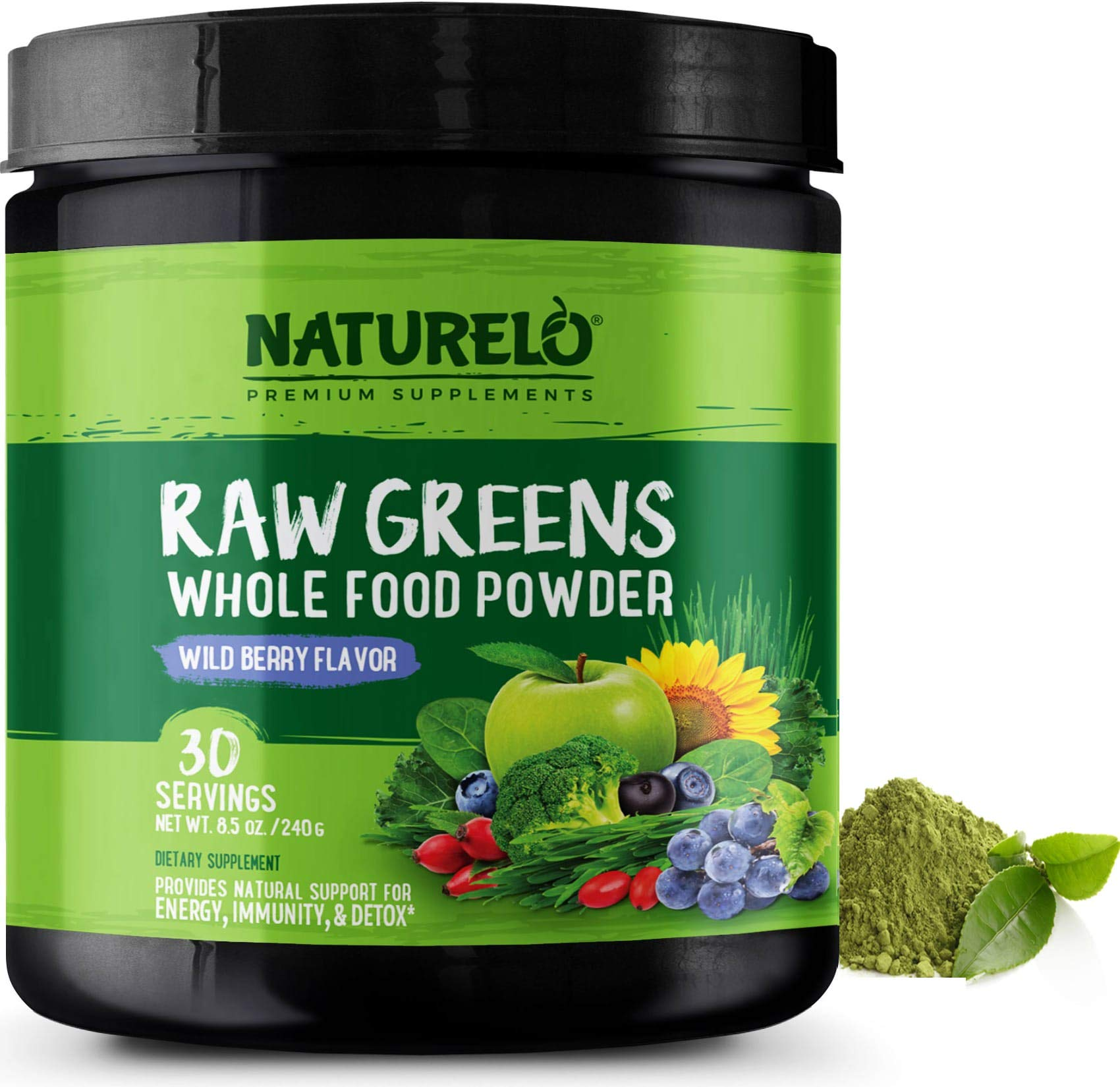 NATURELO Raw Greens Superfood Powder - Supplement to Boost Energy, Detox, Enhance Health - Organic Spirulina & Wheat Grass - Whole Food Nutrition from Fruits & Vegetables - 30 Servings