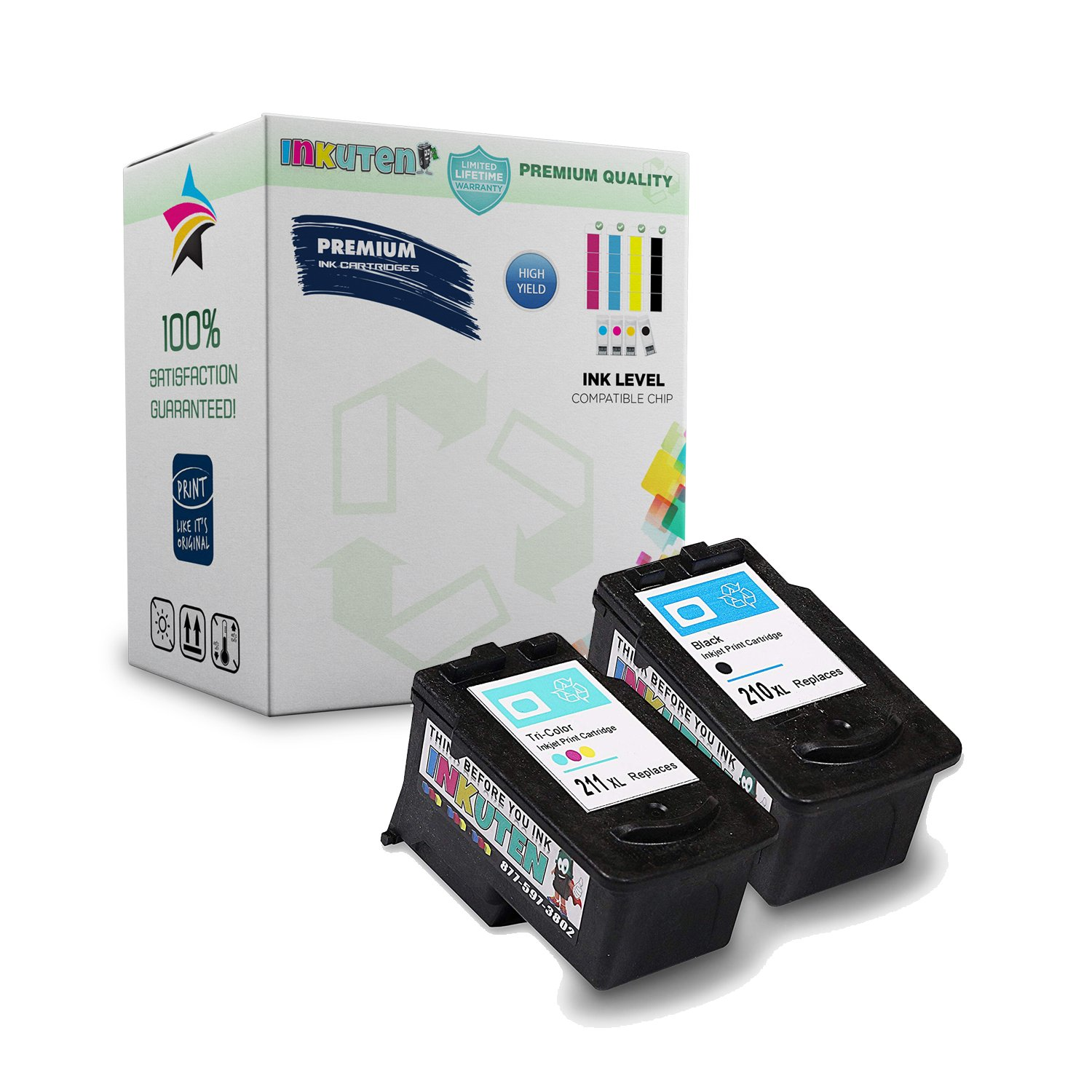 Inkuten 2 Pack High Yield Ink Cartridge Remanufactured Tinta Canon Cl 811 Original 100 Pg 210xl 211xl Black And Tri Color 1 With Level Indicator
