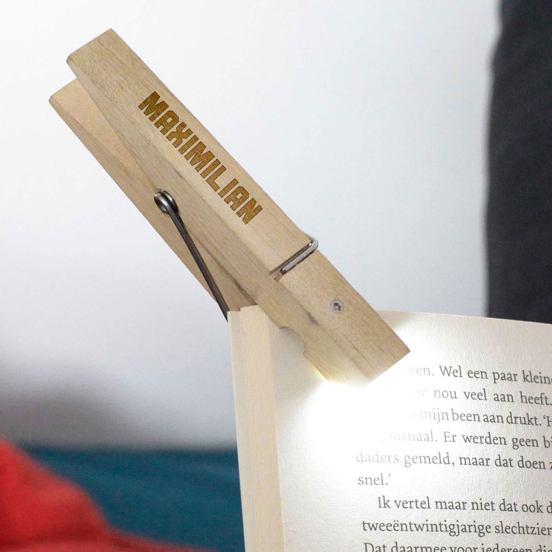Leselampe zum Klemmen Geschenke.de Leselicht W/äscheklammer Gravur Geschenk f/ür Junge und M/ädchen Gravur