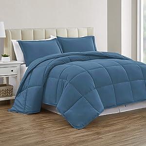 Sharry HOME LINEN Down Alternative Full Comforter Set - Duvet Insert with Tabs -All Season-Ultra Soft(Coronet Blue, Full)