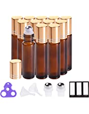 Essential Oil Roller Bottles 10 ml (Amber, Glass, 12pack,24 Pieces Labels, Opener, 2 Extra Stainless Steel Balls, 2 Funnels by PrettyCare) Roller Balls for Essential Oils