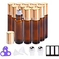 Essential Oil Roller Bottles 10ml (Amber Glass, 12pack, 2 Extra Roller Balls,24 Labels, Opener, 2 Funnels by PrettyCare) Roller Balls For Essential Oils, Roll on Bottles