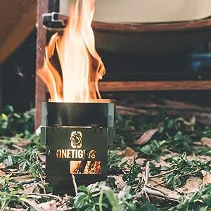 OneTigris Rocuboid - Estufa de leña de acero inoxidable para camping, cocina de alcohol, para senderismo, bushkraft, trekking, exterior, ligera y ...