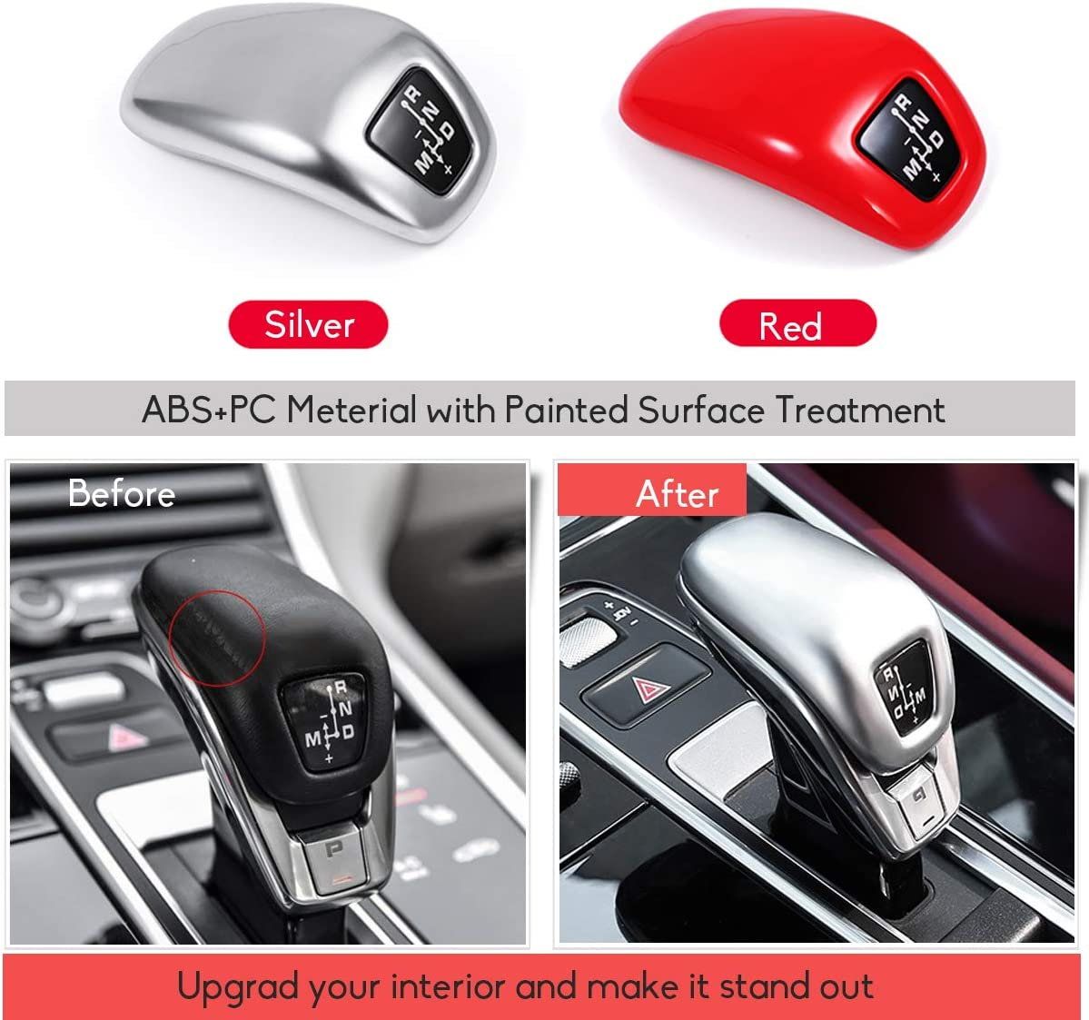 Fits:Porsche Cayenne 2019 9Y0 Jaronx Gear Shift Knob Cover Replacement for Porsche Cayenne 2019 Glossy Red Shift Knob Cover Painted Shift Knob Protector