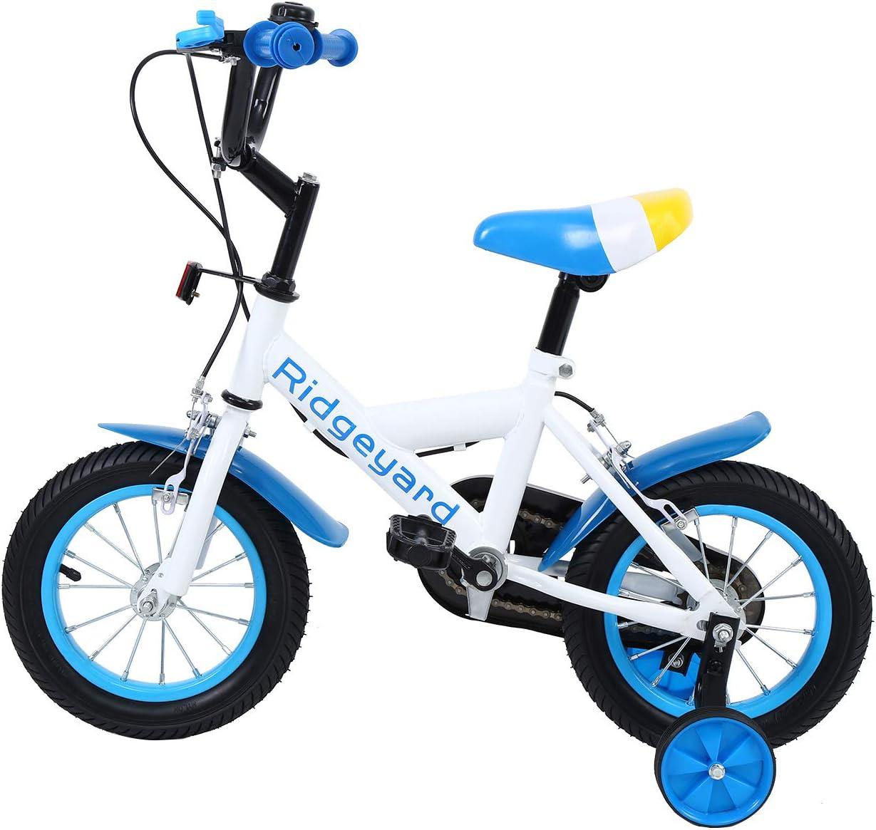 MuGuang 12 Pulgadas Bicicleta Infantil Estudio Aprendizaje Montar a Caballo Bicicleta niños niñas Bicicleta con ruedines con Campana por 3-6 años (Azul): Amazon.es: Deportes y aire libre