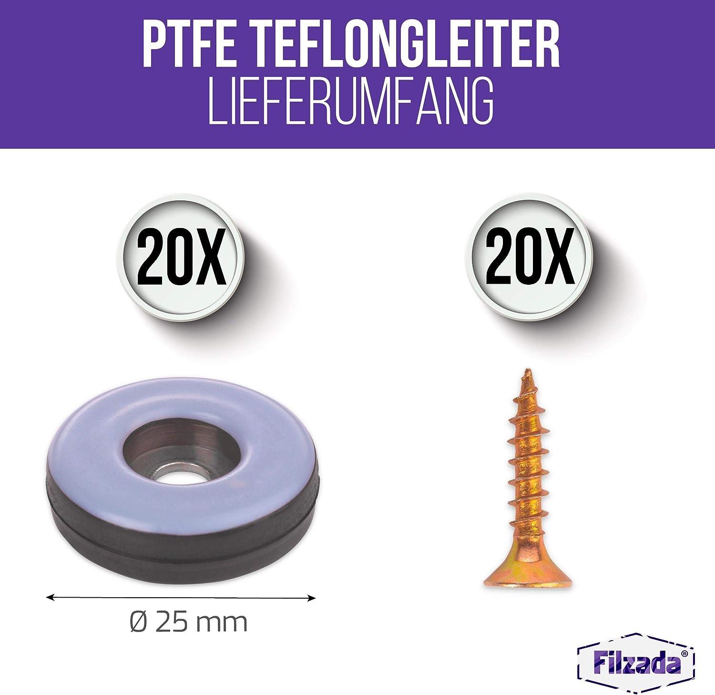Möbelgleiter mit Schrauben Ø 20  mm Teflon Teppichgleiter PTFE Teflongleiter