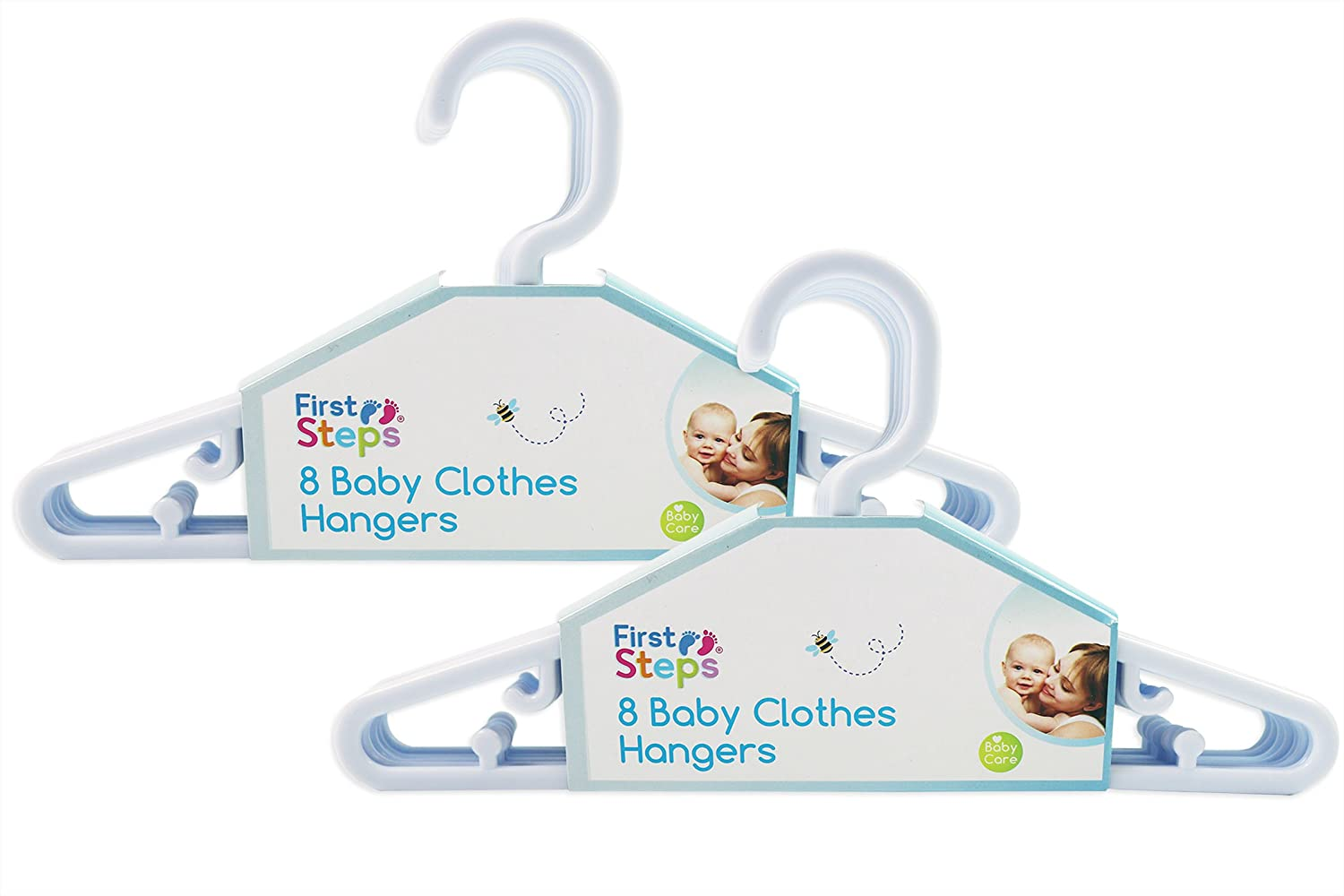 Baby Coat Hangers Small Clothes Hangers First Steps Pack of 16 White RSW