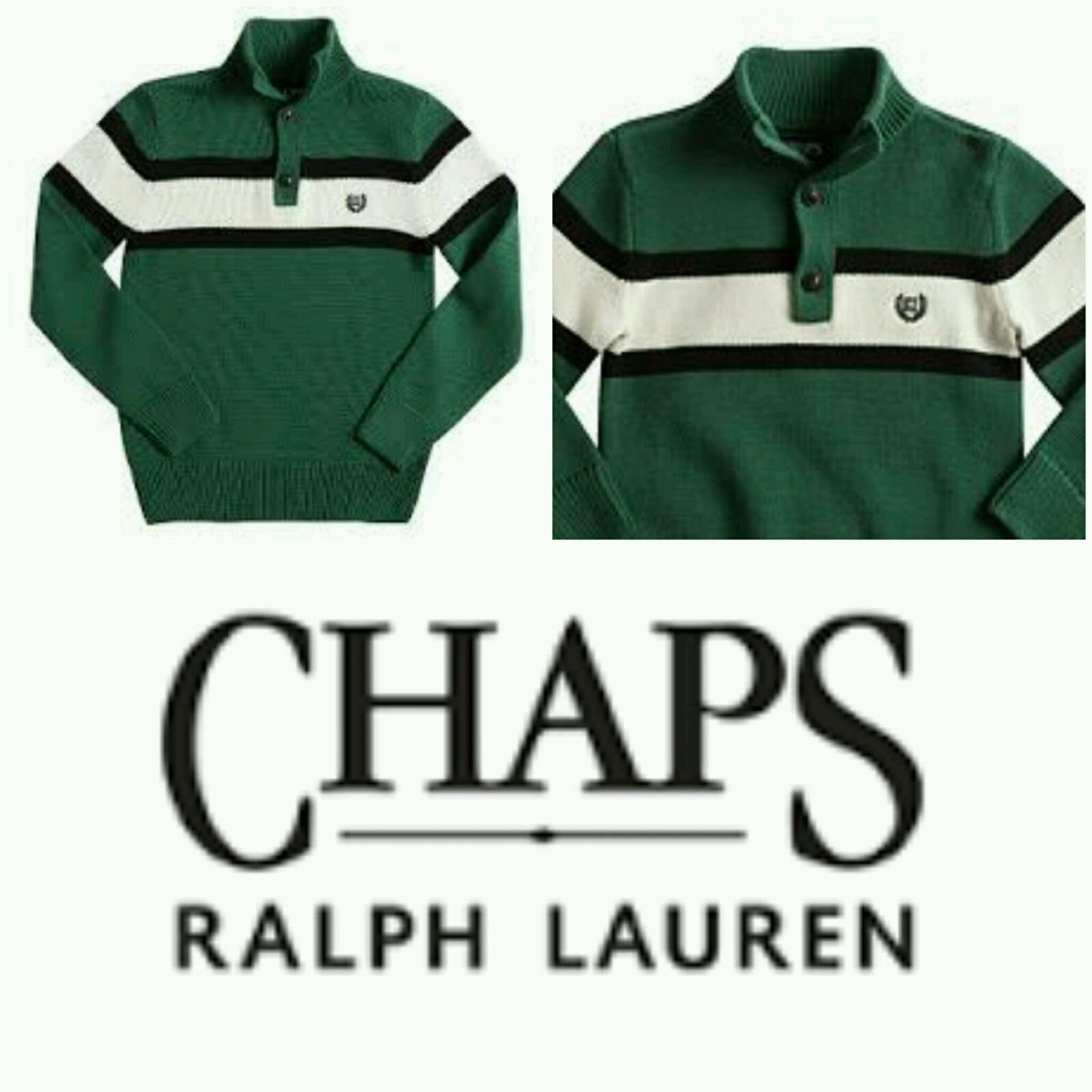 Boys Chaps Pine Green Chest-Striped Henley Collared Sweater (7)