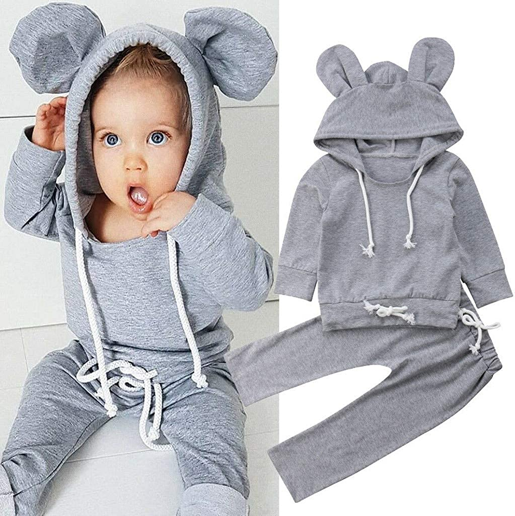 TTLOVE Kleinkind Kinder Baby Jungen M/ädchen Cartoon Ohr Hoodie Kleidung Tops Mit Kapuze Niedlich Babykleidung Hosen Outfits Sets